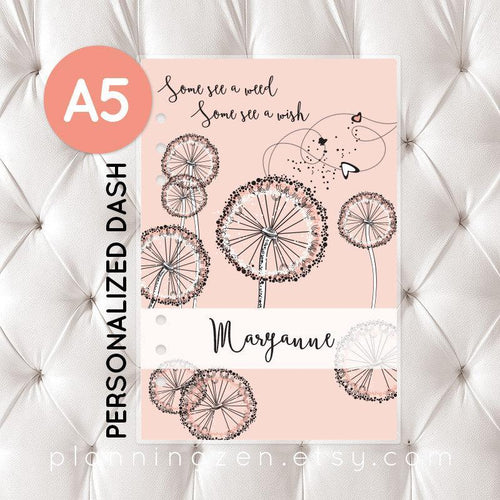 Personalized A5 Planner Dashboard - Peach Dandelion