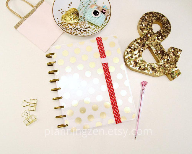 Craft Supplies & Tools - Red Lattice Planner Band With Pink Pen Loop