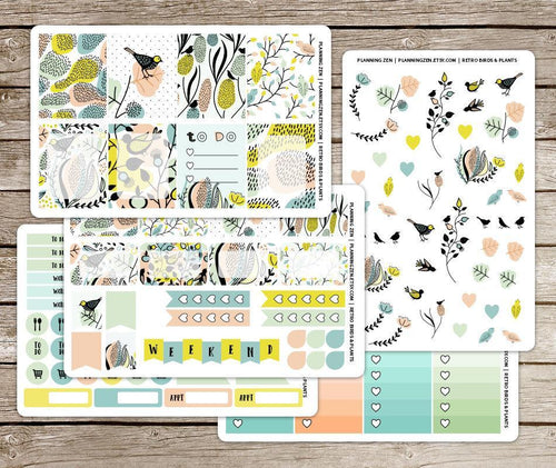 Retro Birds & Plants Vinyl Planner Stickers for use with EC Vertical Planners