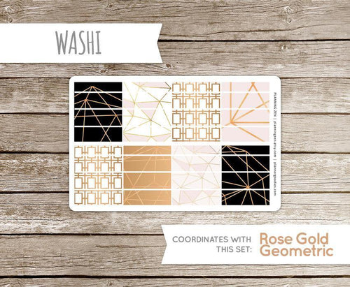 Rose Gold Geometric Washi Strips Vinyl Planner Stickers for use with EC Vertical Planners