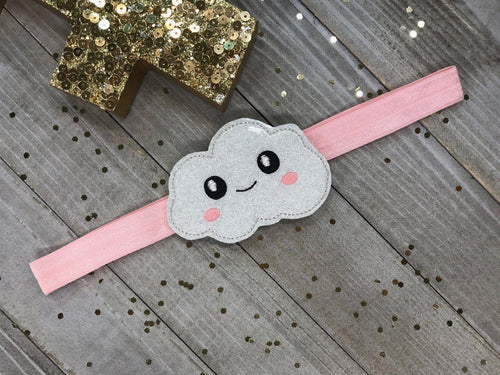 Sparkly Kawaii Embroidered Cloud on Pink Planner Band