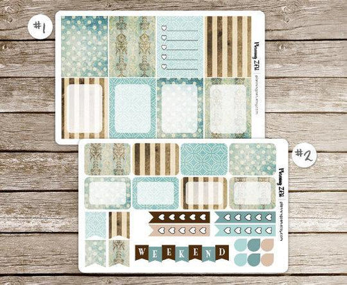 Vintage Turquoise Vinyl Planner Stickers for use with EC Vertical Planners