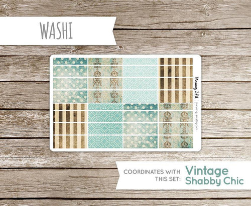 Vintage Turquoise Washi Strips Vinyl Planner Stickers for use with EC Vertical Planners