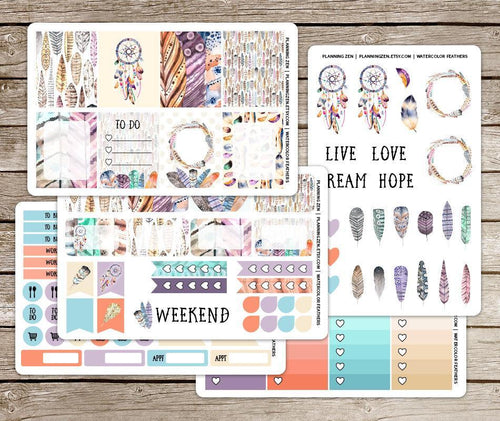 Watercolor Feathers Vinyl Planner Stickers for use with EC Vertical Planners