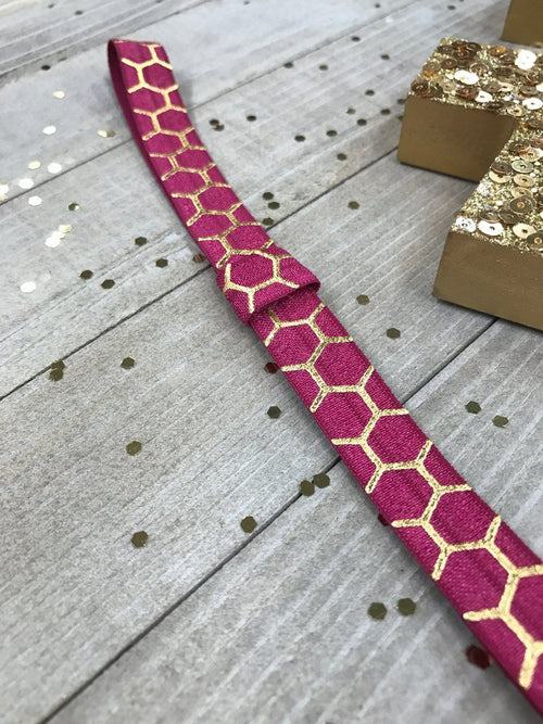 Wine Burgundy with Metallic Gold Honeycomb Planner Band with Pen Loop