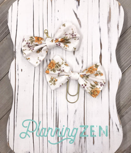 Autumn Colors Fabric Floral Bow Planner Clip
