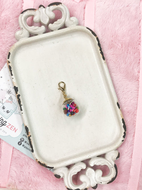 Planner Charm Crystal Bulb with Multicolored Stones