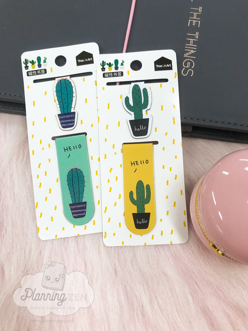 Cactus Magnet Bookmarks 2-Piece Set Magnetic Page Markers