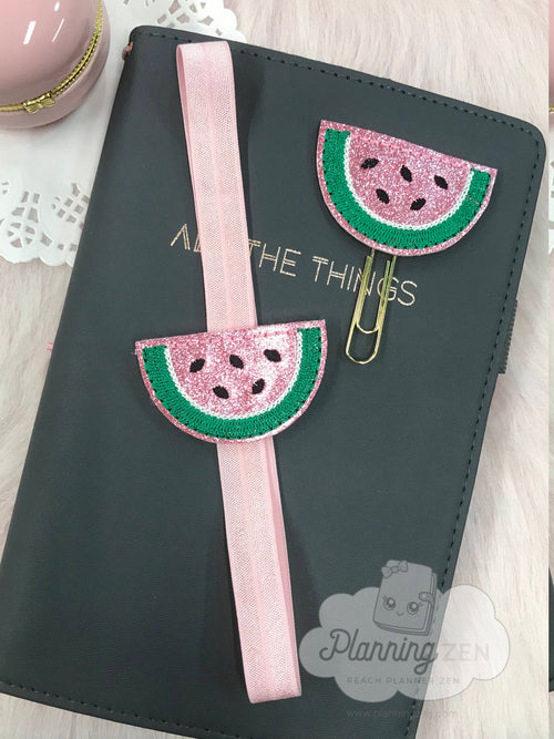 Sparkly Watermelon Wedge Planner Clip and Planner Band