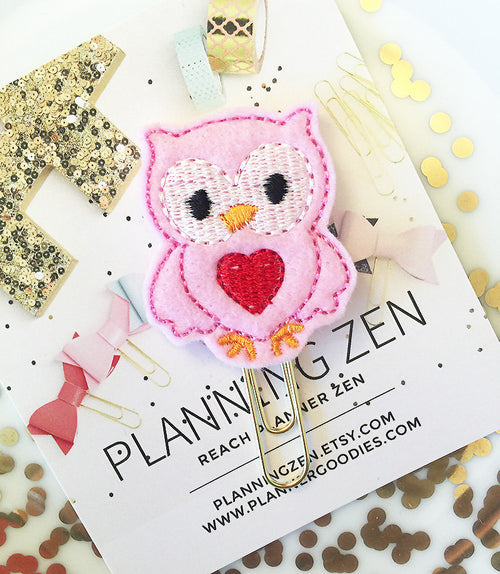 Pink Owl with Heart Felt Planner Clip
