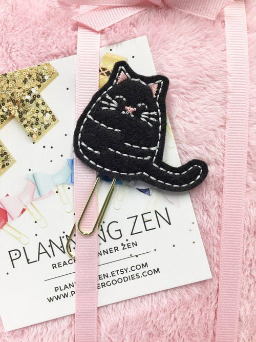 Black Kitty Cat Planner Clip