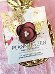 Burgundy Chiffon Poppy with Gold Glitter Leaves Flower Planner Clip