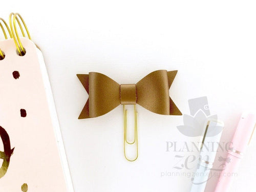 Copper Metallic Bow Planner Clip Faux Leather