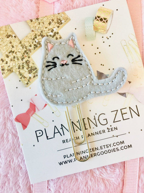 Grey Kitty Cat Felt Planner Clip