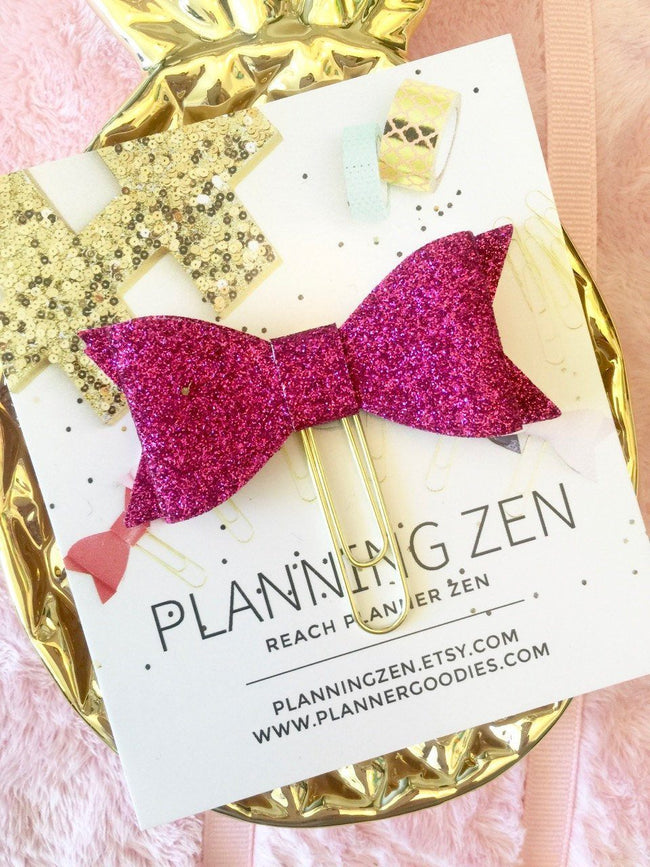 Paper & Party Supplies - Hot Pink Bow Planner Clip Glitter Double Layer