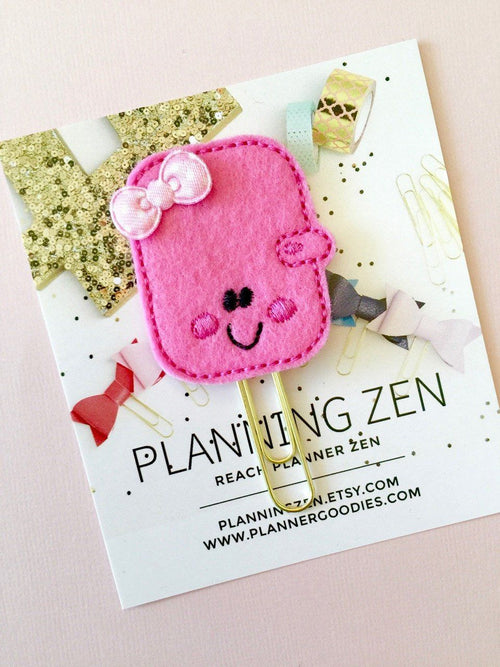 Hot Pink Kawaii Planner with Bow Felt Planner Clip
