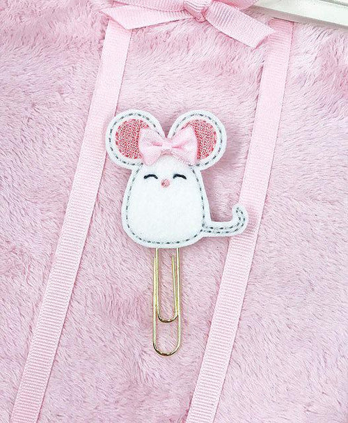 Kawaii White Mouse with Bow Felt Paperclip
