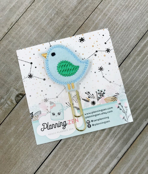 Little Blue Bird with Dark Green Wings Felt Planner Clip
