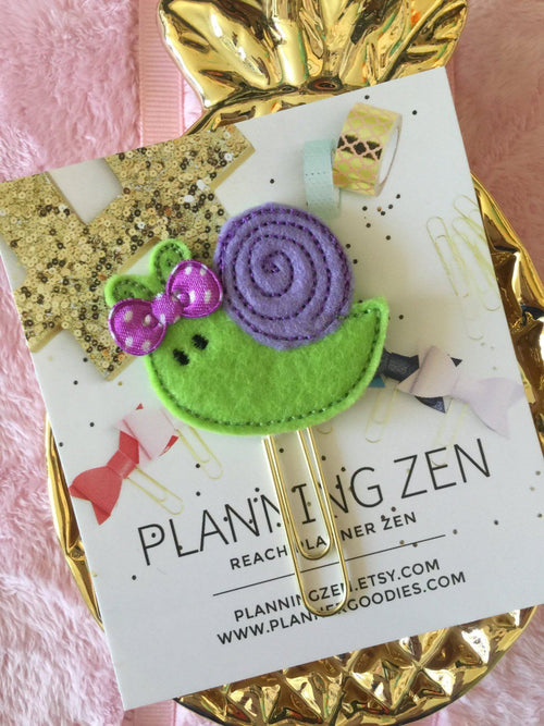 Purple & Green Kawaii Snail with Purple Bow Felt Planner Clip
