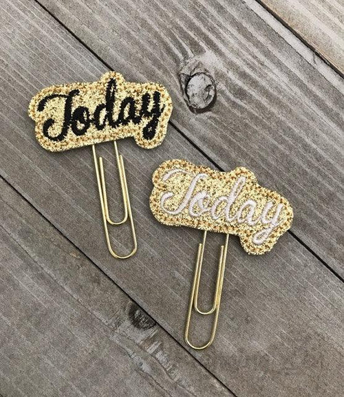"Sparkly Gold ""Today"" Felt Planner Clip"