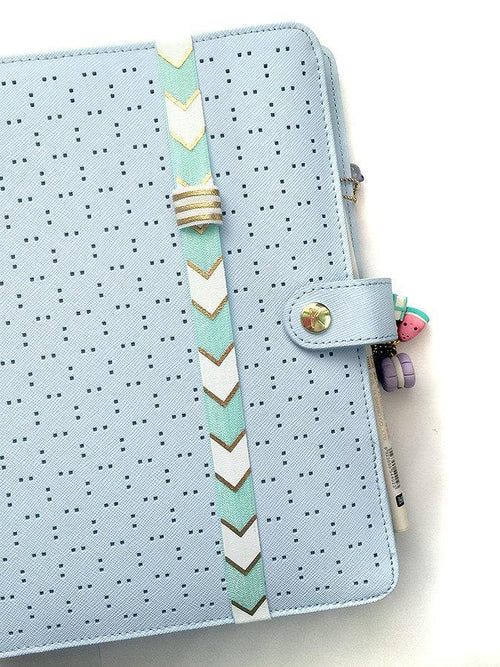 Teal and White Chevron Planner Band with Pen Loop