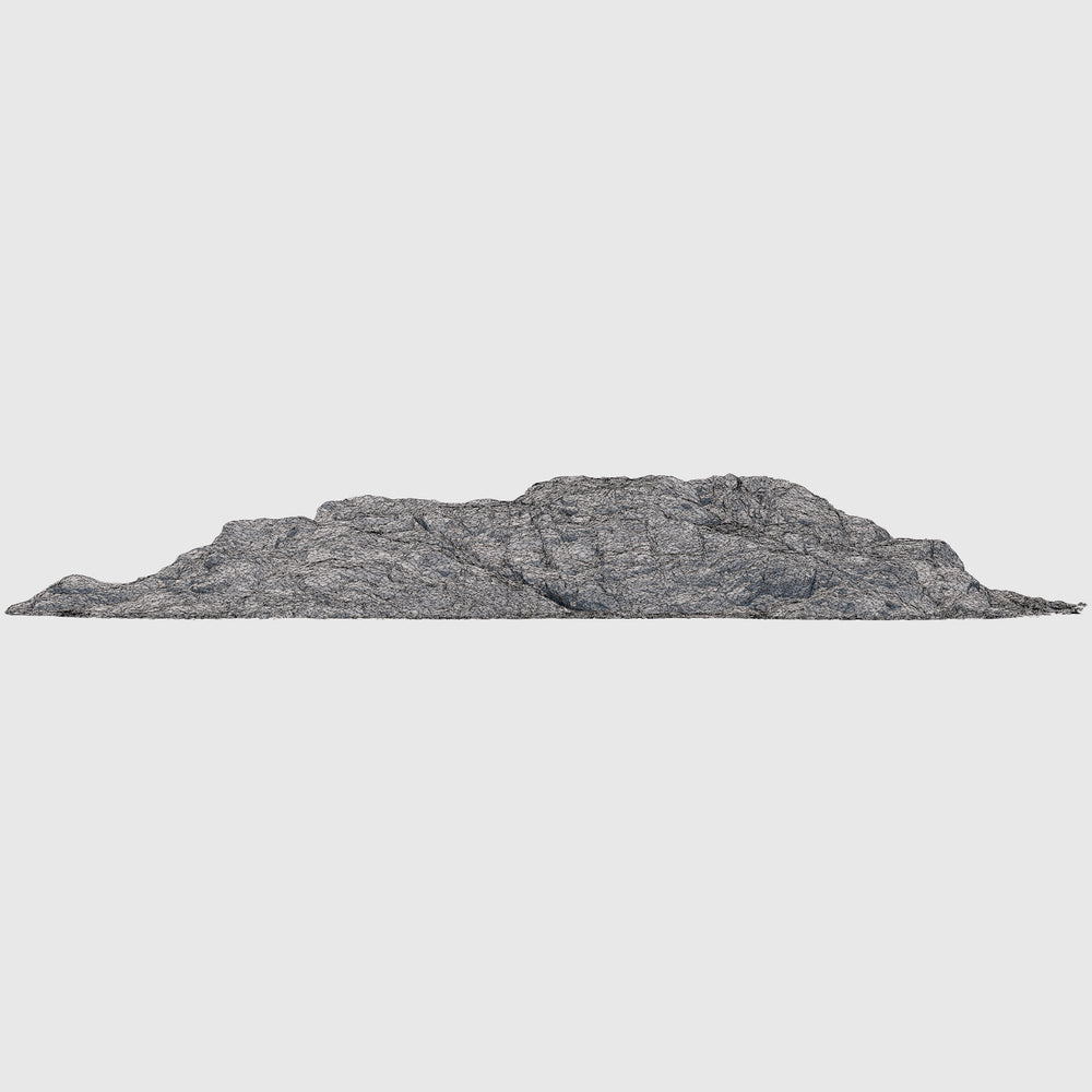 low resolution render of a photo-scanned 3d model rock wall with wireframe applied