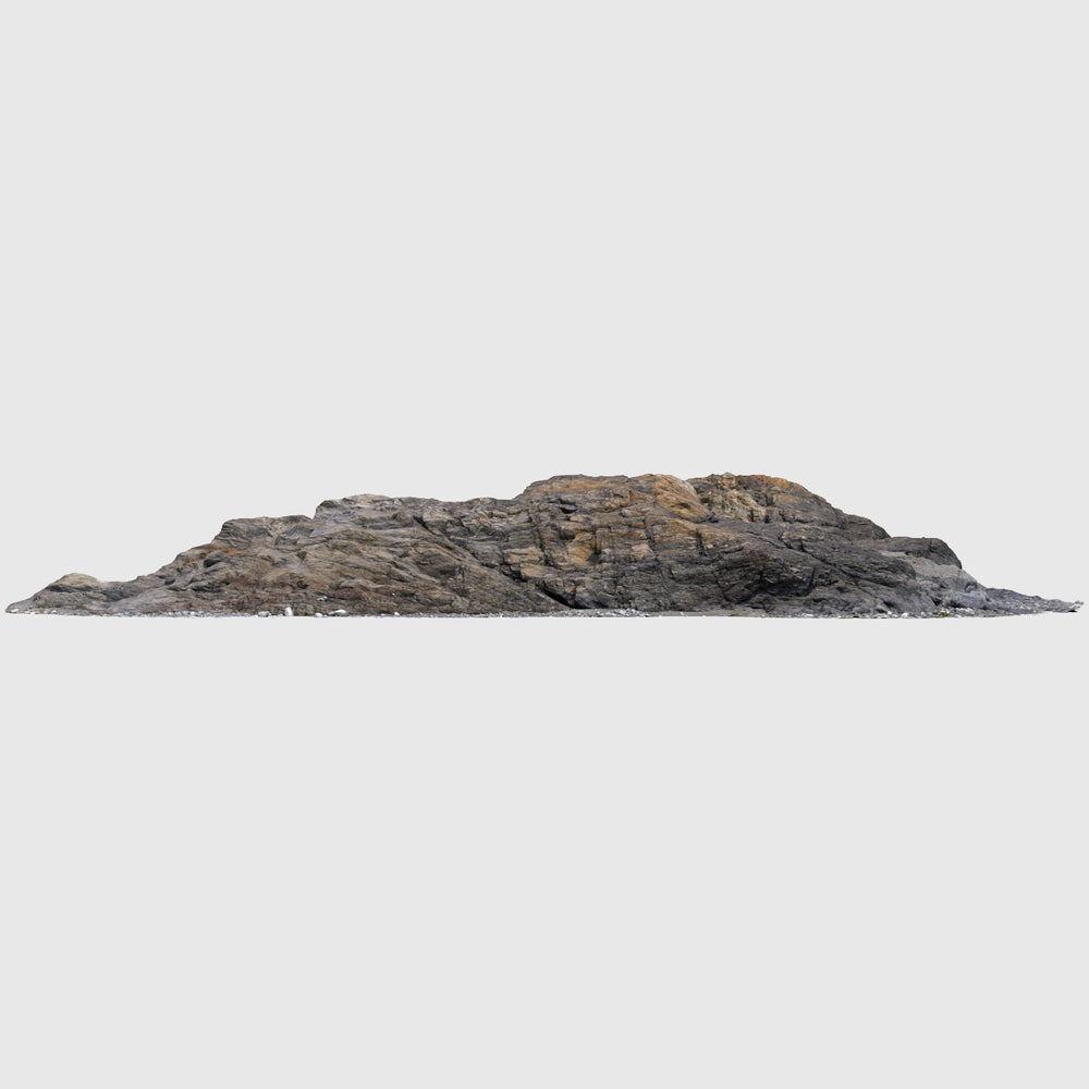 medium resolution render of a photo-scanned 3d model rock wall with texture applied