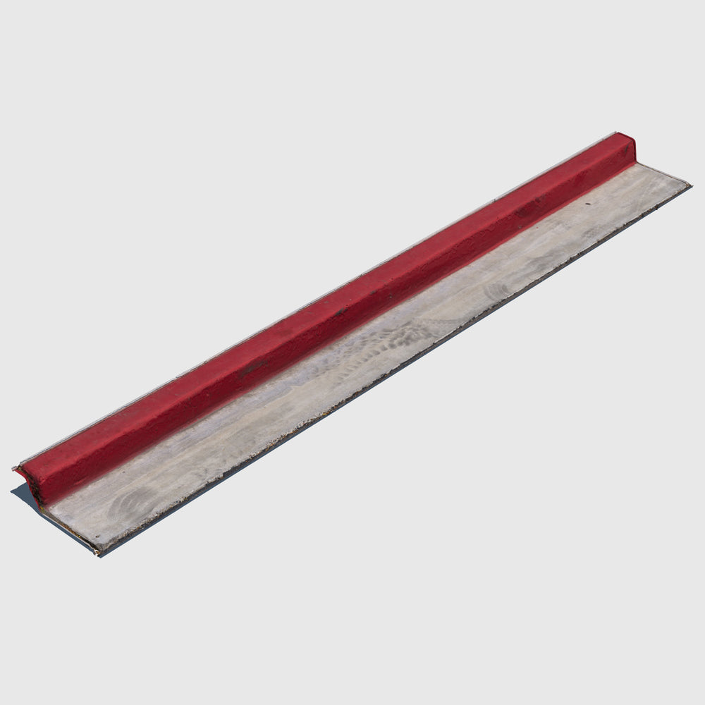 low resolution render of a parking curb painted red with texture applied