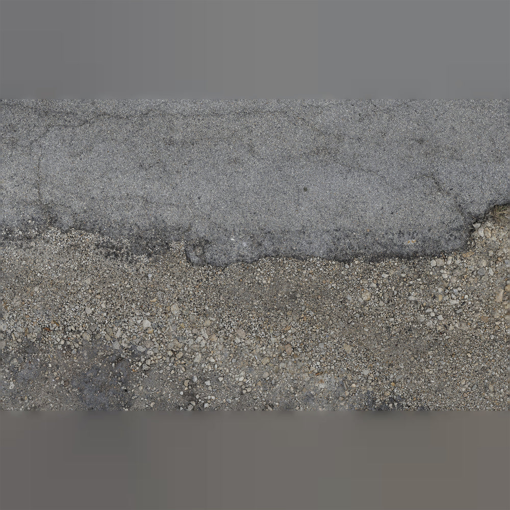 16k resolution uv texture map for a 3d model of torn up asphalt and gravel