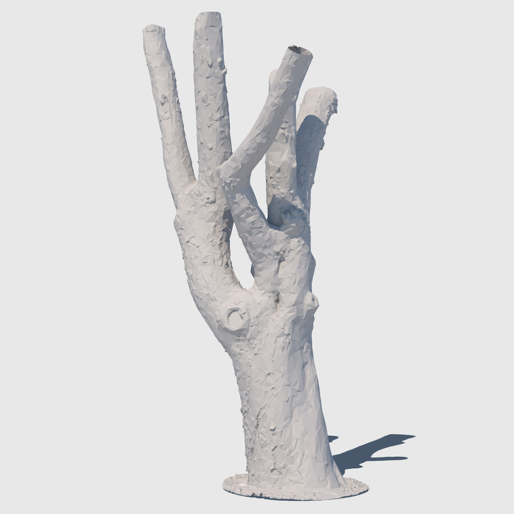 low resolution render of a clay model of a large leafless tree trunk