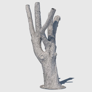 low resolution render of a wireframe model of a large leafless tree trunk