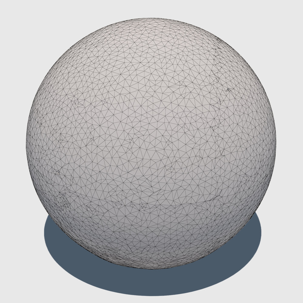 large cg aggregate cement ball that was rendered with a low resolution wireframe
