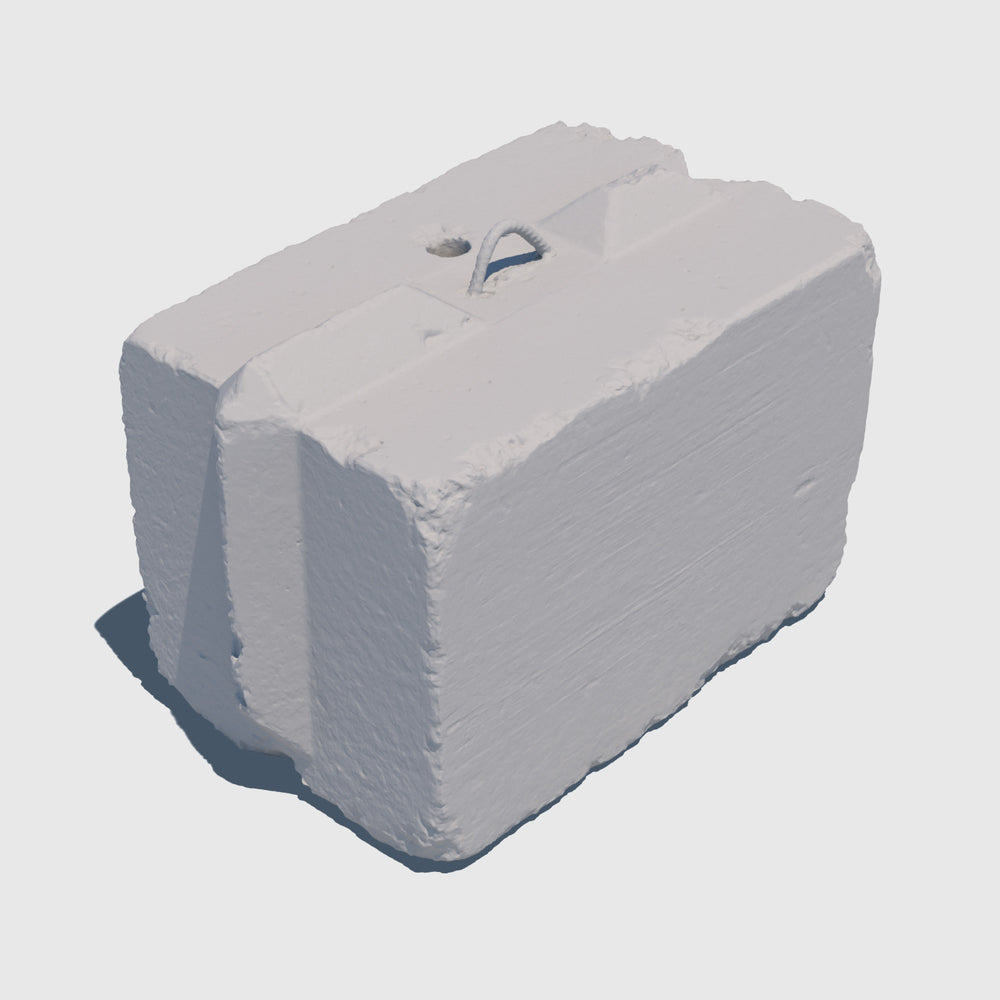 uv texture map of a small gray cement 3d block