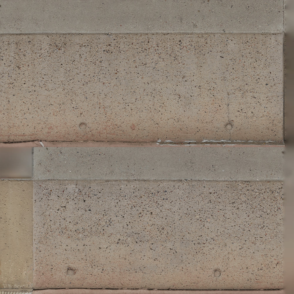 flattened uv mapped texture of a long orange-tinted concrete aggregate 3d wall