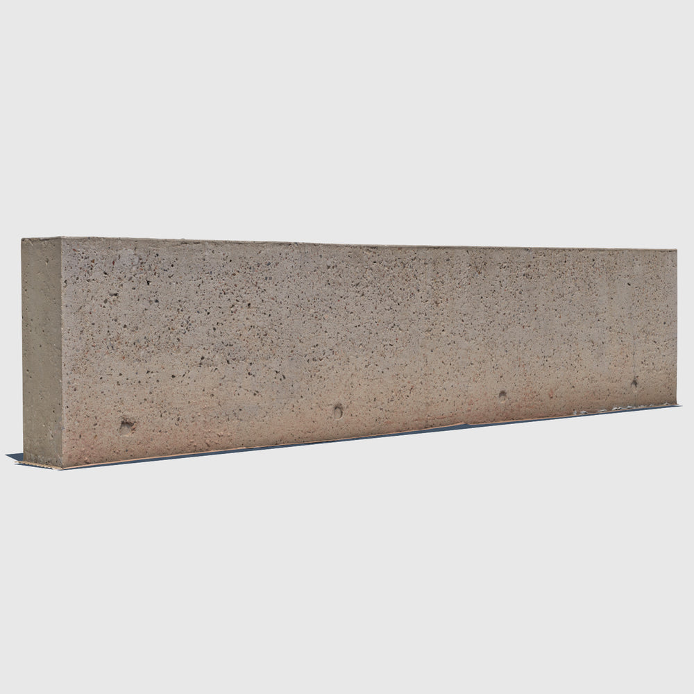 long orange-tinted concrete aggregate 3d wall rendered in low resolution texture