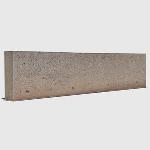 long orange-tinted concrete aggregate 3d wall rendered in medium resolution texture