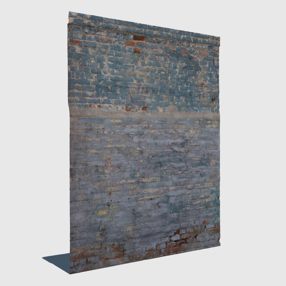 section of a red brick wall with weathered blue paint rendered with low resolution texture