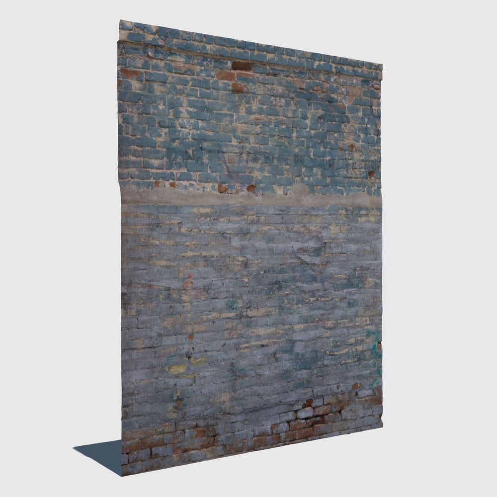 section of a red brick wall with weathered blue paint rendered with medium resolution texture