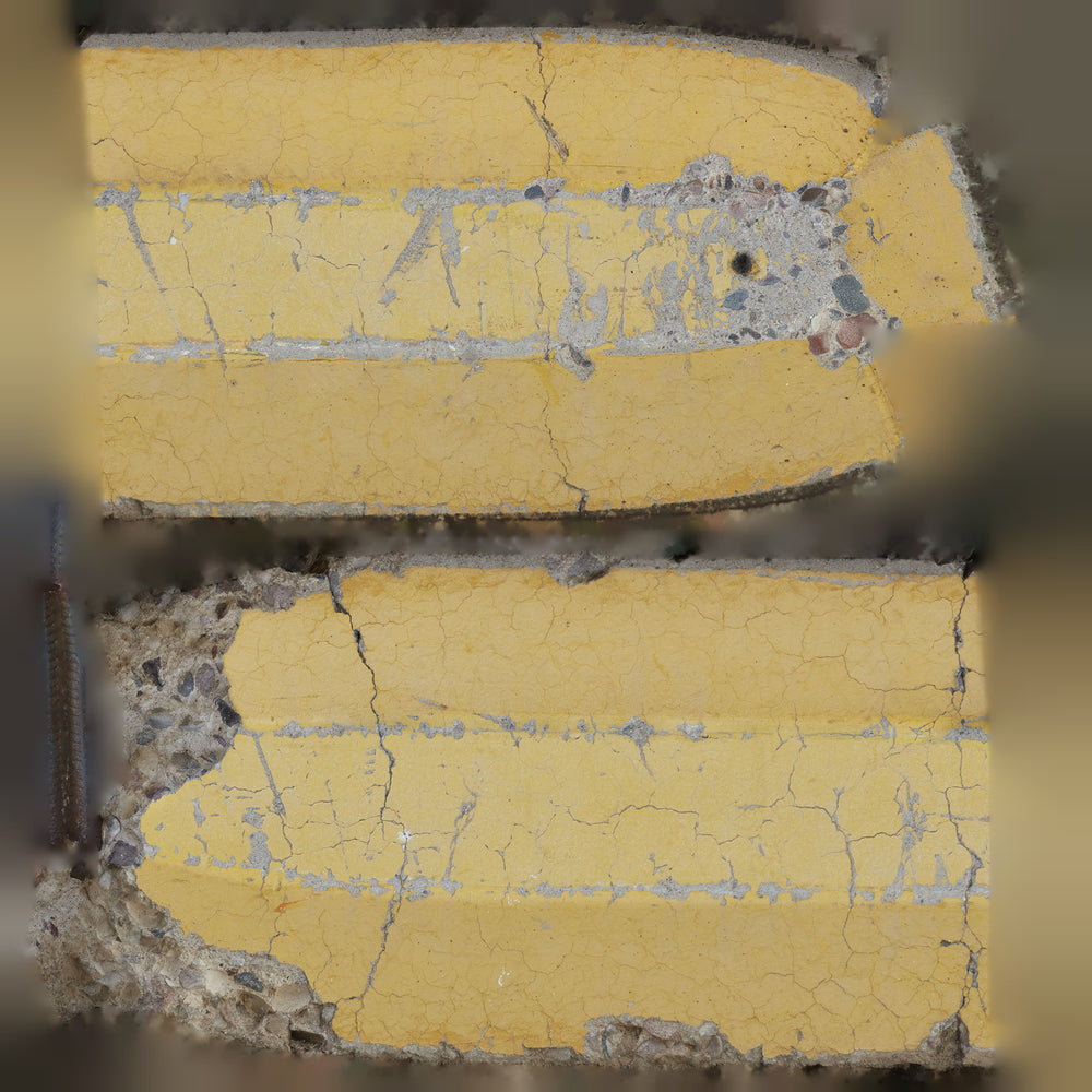 uv mapped 16k resolution of a yellow damaged concrete cg parking curb with rebar sticking out the side