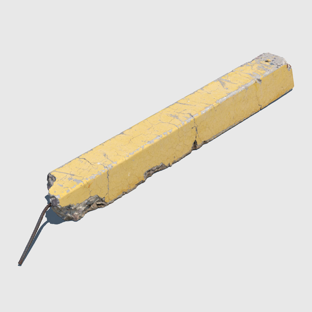yellow damaged concrete cg parking curb with rebar sticking out of one side rendered with high resolution texture