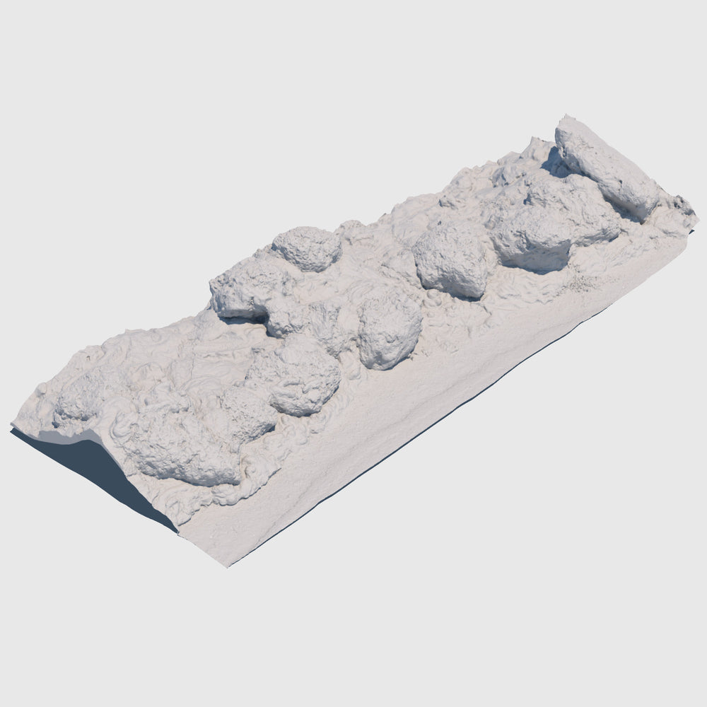 uv texture map of a pile of medium sized ocean rocks anchored in cement