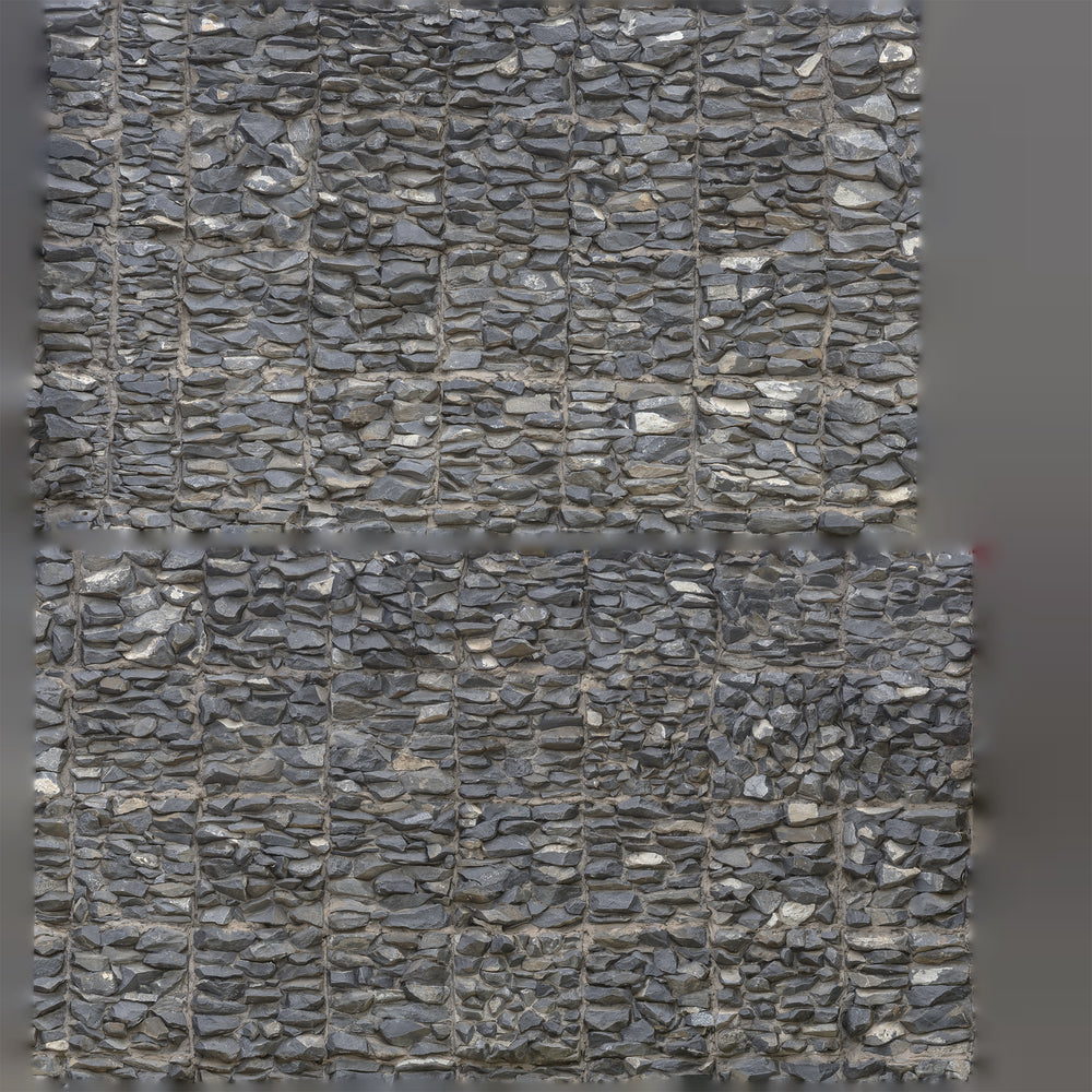 uv texture map of man-made rock wall made of smaller gray rocks