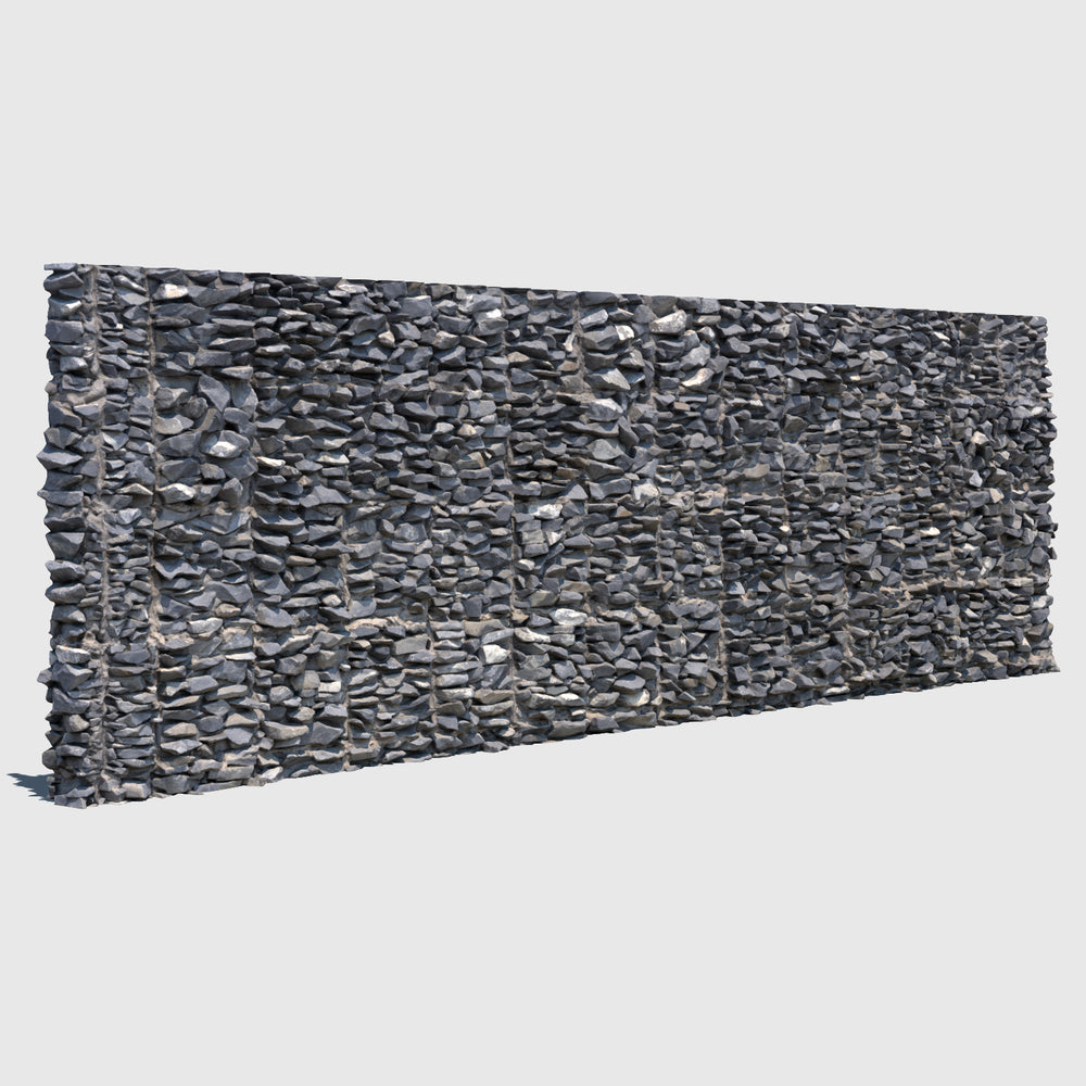 large section of a cg man-made rock wall made up of smaller gray rocks cemented together rendered with high resolution texture