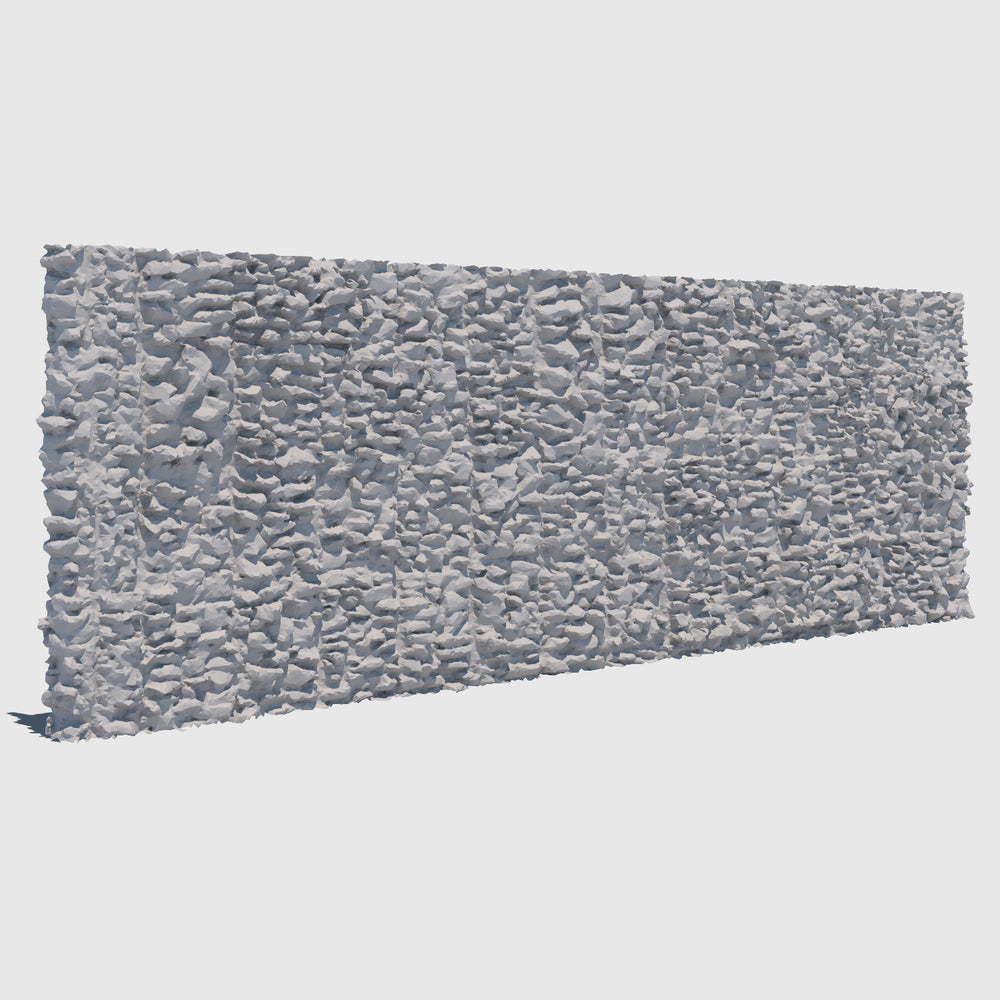 large section of a cg man-made rock wall made up of smaller gray rocks cemented together rendered with low resolution clay