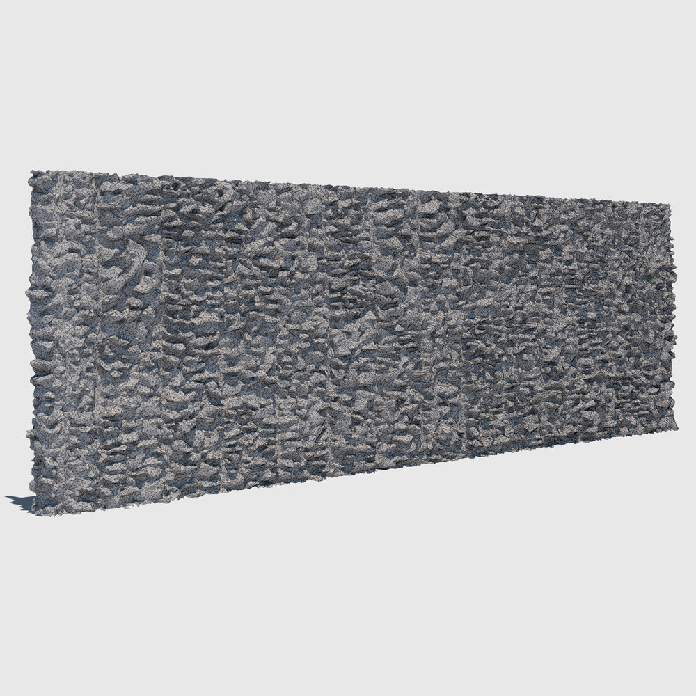 large section of a cg man-made rock wall made up of smaller gray rocks cemented together rendered with low resolution wireframe