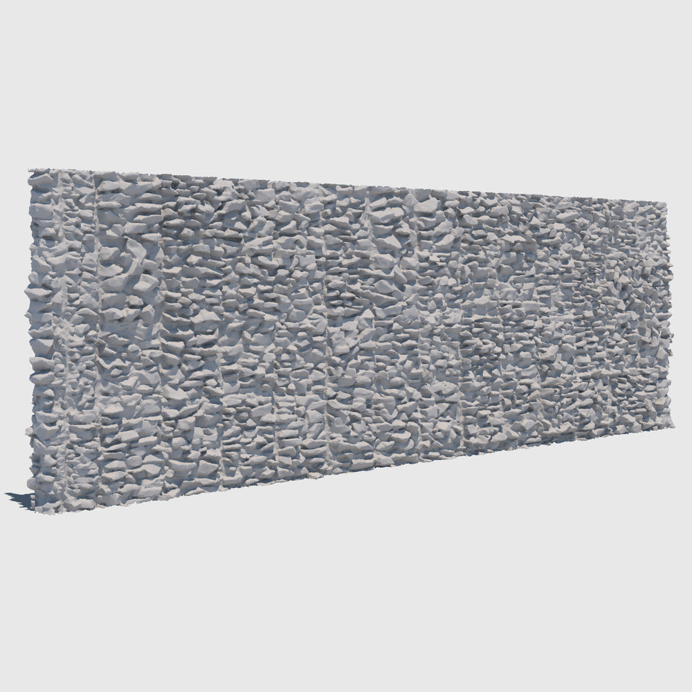 large section of a cg man-made rock wall made up of smaller gray rocks cemented together rendered with medium resolution clay