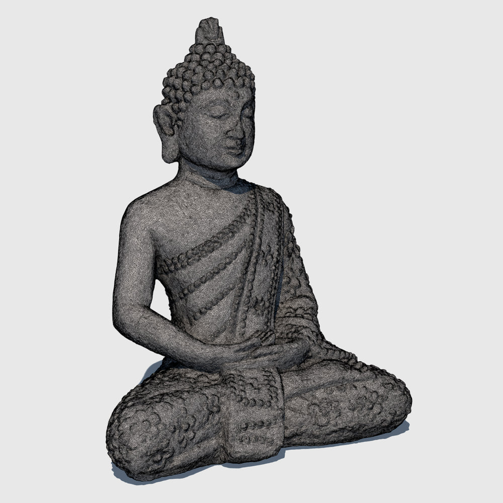 small rough gray stoned cg Buddha statue in Lotus position rendered with high resolution wireframe