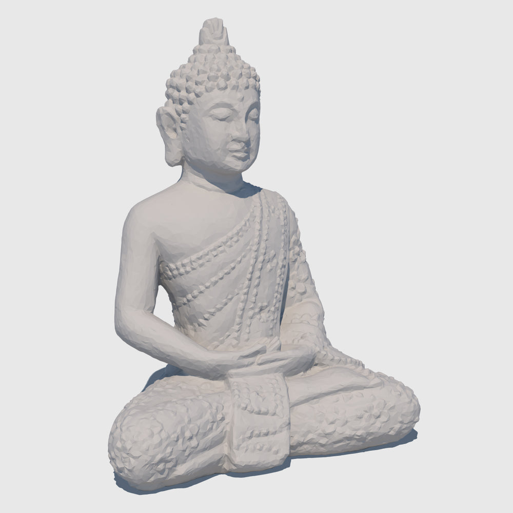small rough gray stoned cg Buddha statue in Lotus position rendered with low resolution clay
