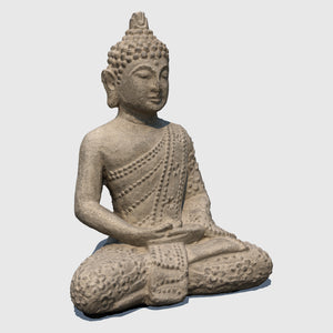 small rough gray stoned cg Buddha statue in Lotus position rendered with low resolution texture