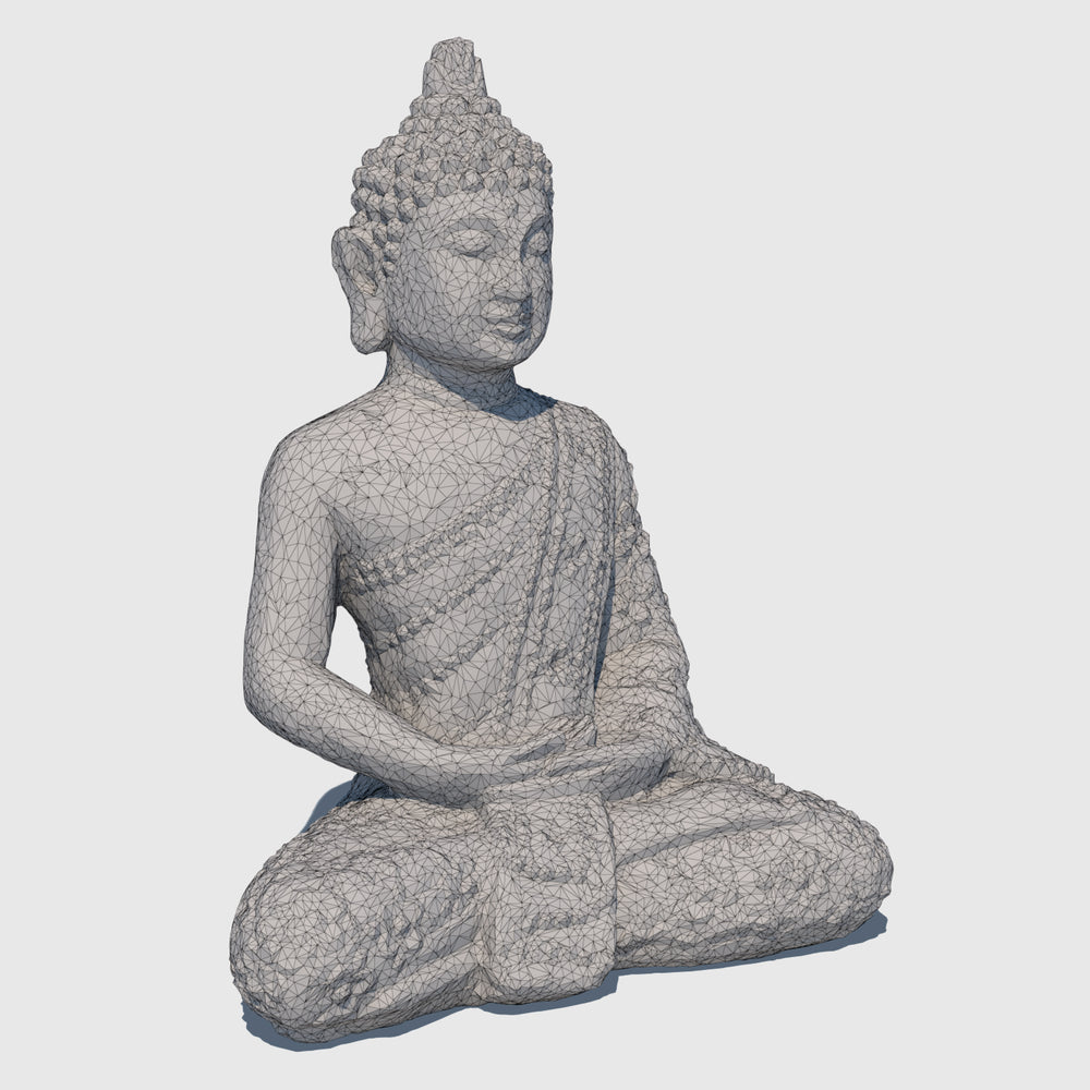 small rough gray stoned cg Buddha statue in Lotus position rendered with low resolution wireframe
